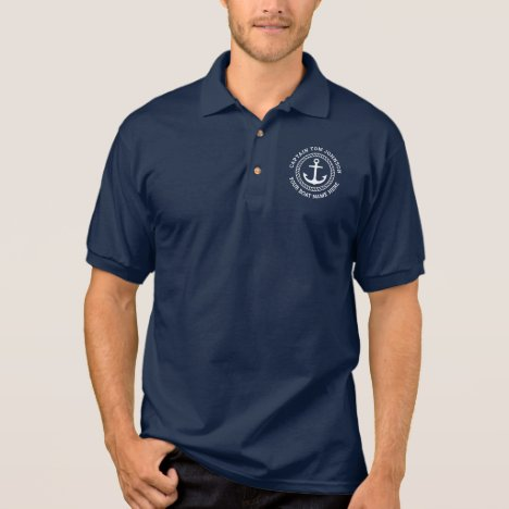 Custom captain and boat name anchor navy blue polo shirt