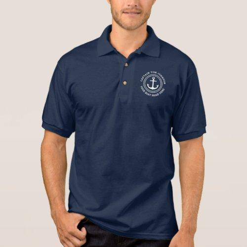 Custom captain and boat name anchor navy blue polo shirt