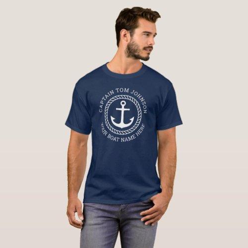 Custom captain and boat name anchor navy blue T-Shirt