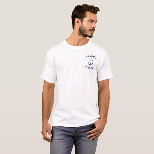 Custom Captain Boat Name and Home Port Anchor T_Shirt