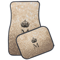 Custom Car Floor Mats - Crown Peach Gold Glitter