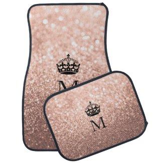 Custom Car Floor Mats - Crown Rose Gold Glitter