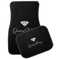 Custom Car Floor Mats - Diamond Queen Name
