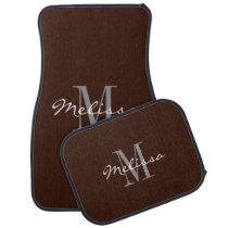 Custom Car Floor Mats - Initial Script Brown
