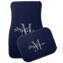 Custom Car Floor Mats - Initial Script Navy Blue