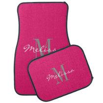 Custom Car Floor Mats - Initial Script Pink