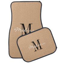 Custom Car Floor Mats - Initial Script Tan