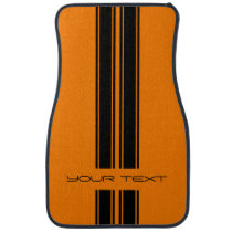 Custom Car Floor Mats - Stripe Type Orange