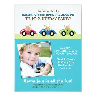 :custom: Car Trio Aqua Birthday Party Invitation