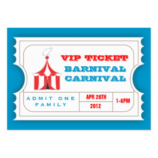 CUSTOM Carnival Admission Ticket BLUE Large Business Cards (Pack Of 100)