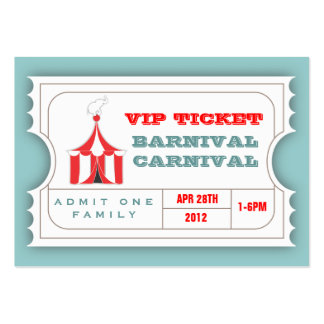 CUSTOM Carnival Admission Ticket Business Card