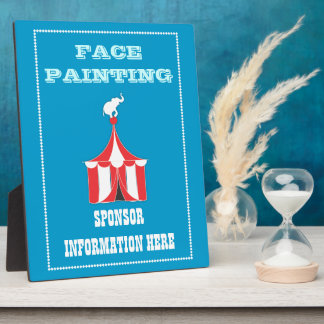 CUSTOM Carnival Table Signs BLUE Plaque