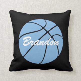 Custom Carolina Blue Basketball Throw Pillow