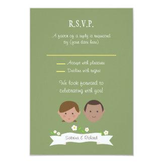 Custom Cartoon Couple Portrait Wedding RSVP Card