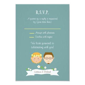 "Custom Cartoon Couple Portrait Wedding RSVP 3.5"" X 5"" Invitation Card"