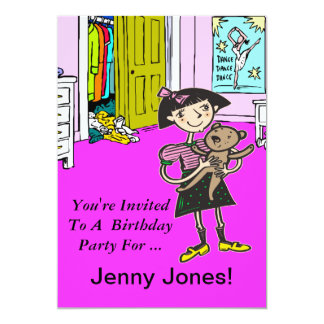 Custom Cartoon Girl Birthday Party Invitation