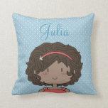 Custom Cartoon girl -- little girl, brunette Pillow