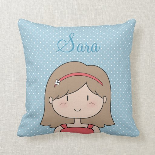 Custom Cartoon girl -- little girl, brunette Throw Pillow
