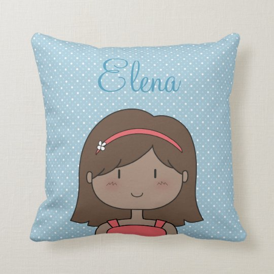 Custom Cartoon girl -- little girl, brunette Throw Pillow