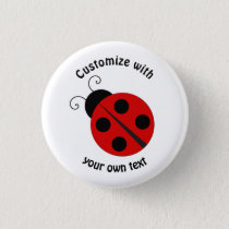 Custom Cartoon Ladybug Pinback Button