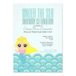 custom cartoon MERMAID PRINCESS  birthday party 1 5x7 Paper Invitation Card