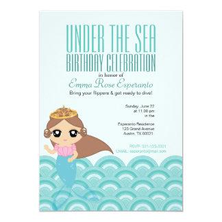 custom cartoon MERMAID PRINCESS  birthday party 2 5x7 Paper Invitation Card