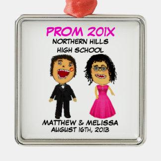 Custom Cartoon Prom Couple Metal Ornament