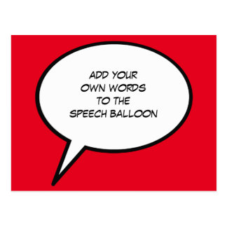 custom cartoon speech balloon postcard
