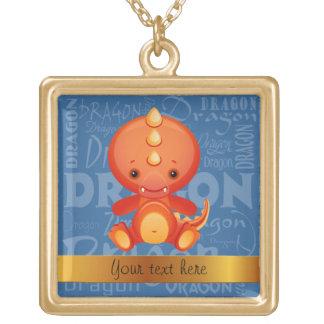 Custom Cartoon Year of the Dragon Word Art Square Pendant Necklace