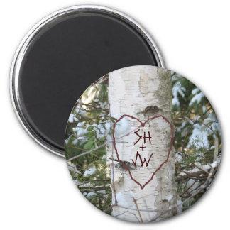 Custom Carved Birch Tree 2 Inch Round Magnet