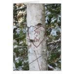 Custom Carved Birch Tree Greeting Card