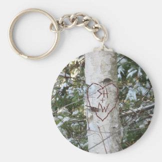Custom Carved Birch Tree Key Chain