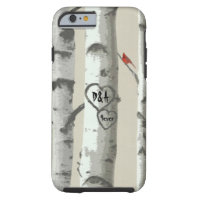 Custom Carved Hearts On Birch Tree Valentine Tough iPhone 6 Case