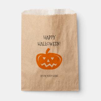 Custom carved pumpkin Halloween party favor bags