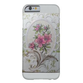 custom case pink azaleas in oval frame w/flourish