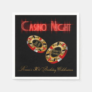 CUSTOM Casino Style Party ASK ME 4 NAMES IN CHIPS Paper Napkin