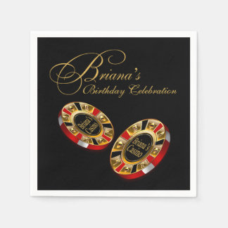 CUSTOM Casino Style Party ASK ME 4 NAMES IN CHIPS Paper Napkins
