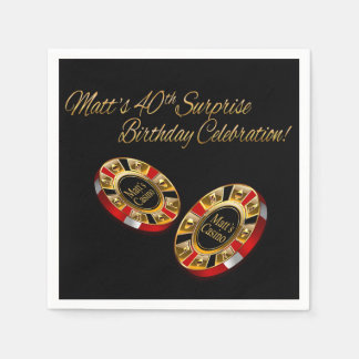 CUSTOM Casino Style Party ASK ME 4 NAMES IN CHIPS Standard Cocktail Napkin
