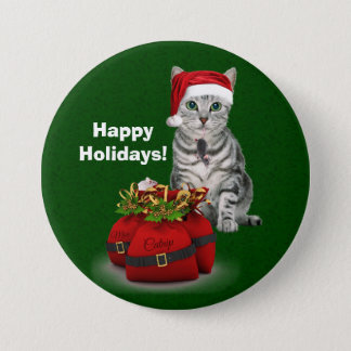 Custom Cat and Mouse Christmas on Green Button