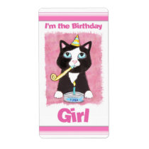 Custom Cat Birthday Girl Gift Label