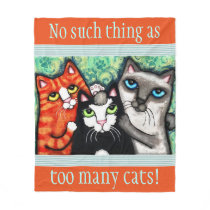 Custom Cat Lover's Cat Art Fleece Blanket