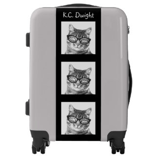 Custom cat photo luggage suitcase for animal lover