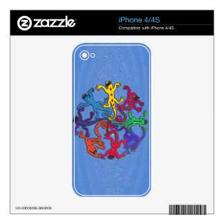 Custom Cell Phone Skins - Circle of Lizards Skin For iPhone 4S