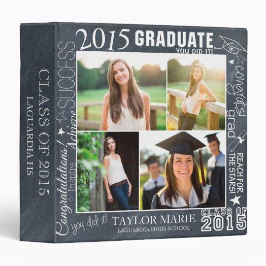 Custom Chalk Graduation 2015 Photo Scrapbook Binder