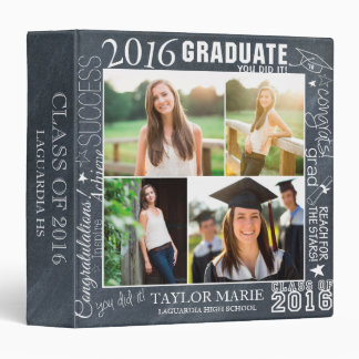 Custom Chalk Graduation 2016 Photo Scrapbook Binder