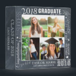 """Custom Chalk Graduation 2018 Photo Scrapbook Binder<br><div class=""""desc"""">Add 4 of your favorite graduation photos to create a beautiful unique photo collage scrapbook and photo album. Your personal photos surrounded by a word collage border of the many ways to congratulate your Graduate. Inspirational quote by Ralph Waldo Emerson on back. Faux chalk background. Perfect for creating memories and...</div>"""