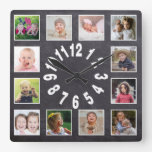 Custom Chalkboard 12 Family Photo Collage Square Wall Clock