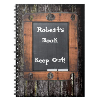 Custom Chalkboard Grungy Wood Effect Keep Out Notebook