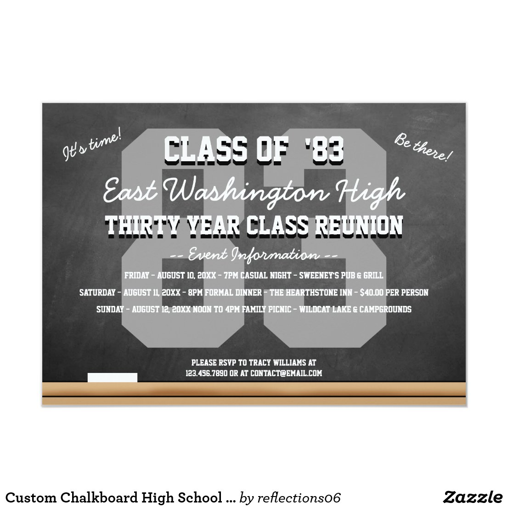 Custom Chalkboard High School Reunion Invitation