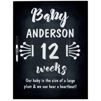 Custom Chalkboard Monthly Pregnancy Countdown Dry-Erase Board